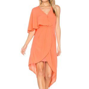Orange V-Neck Hi-Low Flutter Sleeve Glow Dress